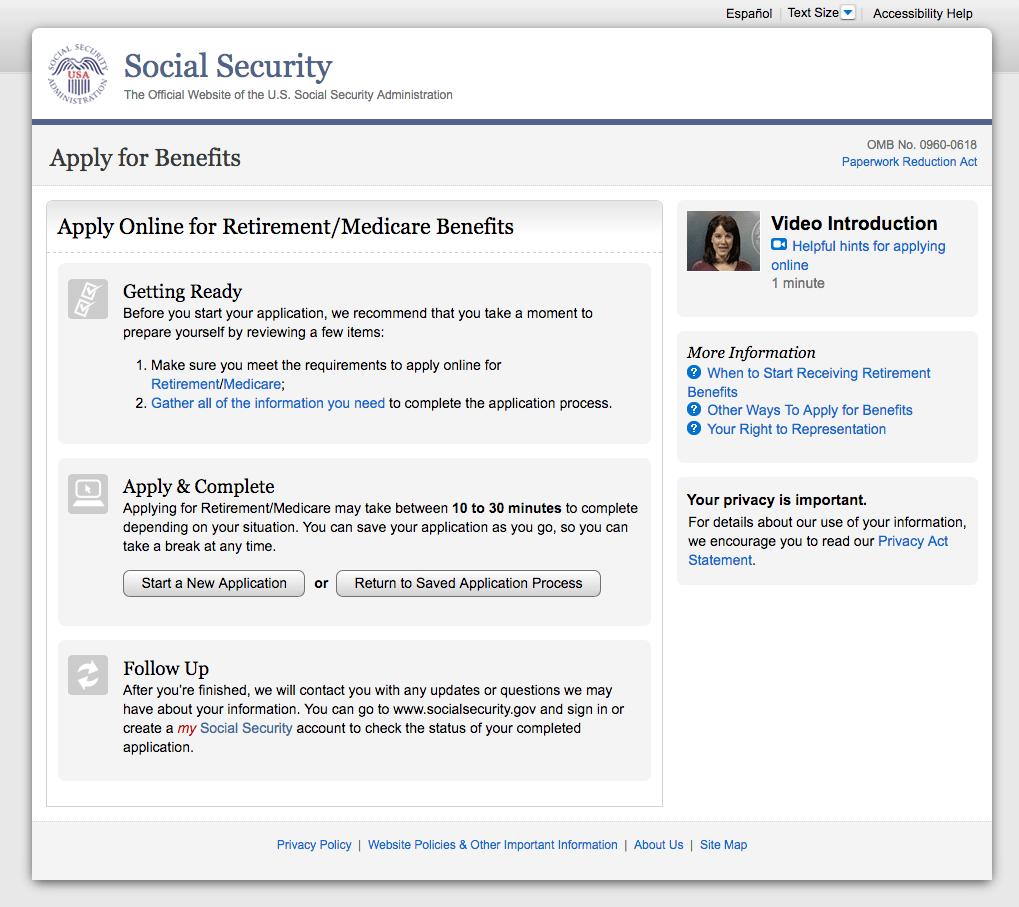 Original Medicare signup online page