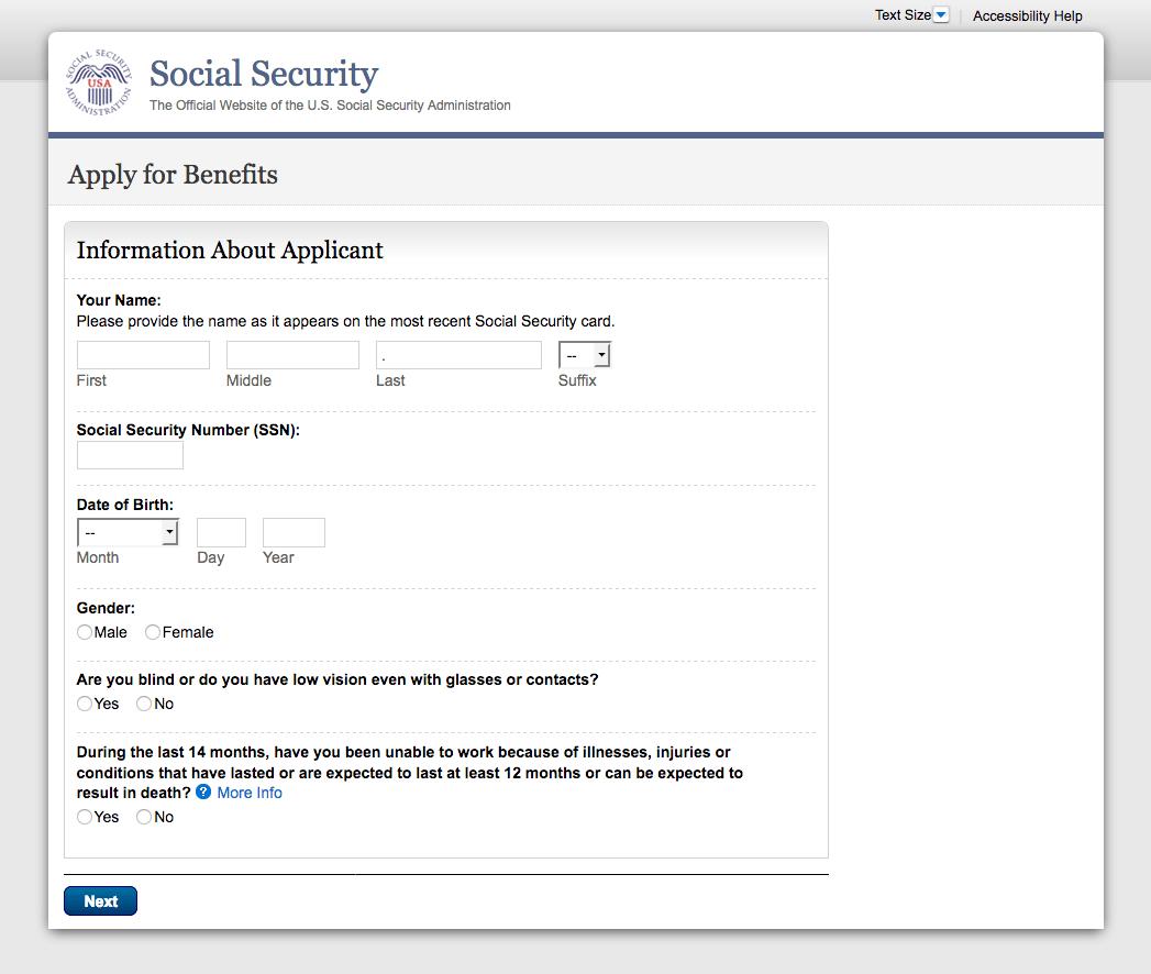 Original Medicare signup online page step 2