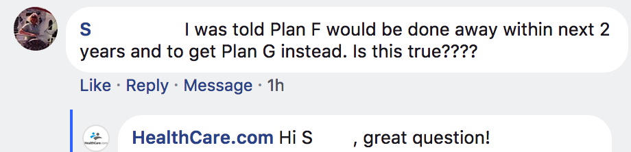 Plan F Facebook question
