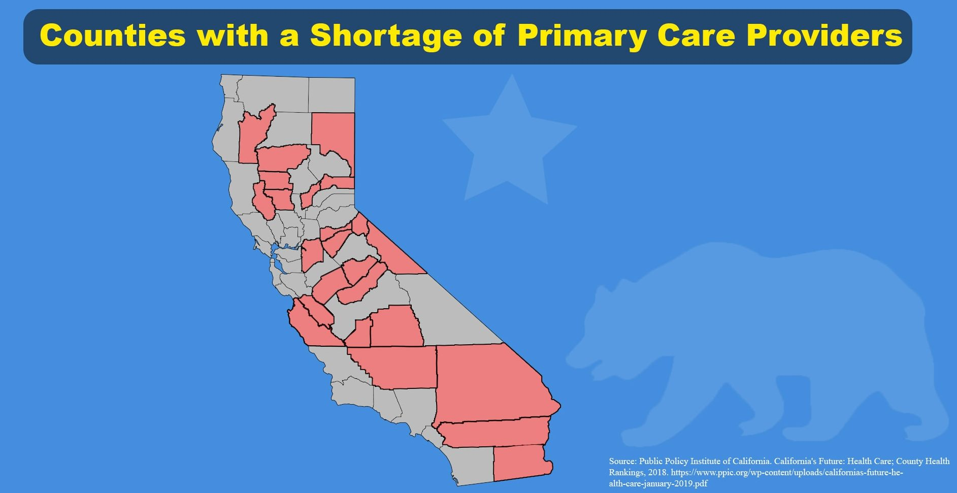 map of California counties with few doctors